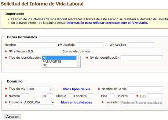 Seguridad social pedir vida laboral por internet for Pedir vida laboral en oficina